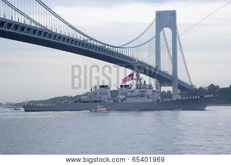 USS Cole guided missile destroyer of the United States Navy during parade of ships at Fleet Week2014