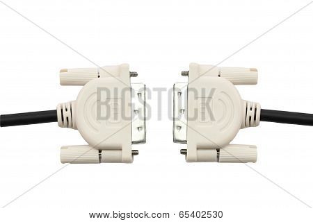 Monitor Cables Of Dvi Port Of Isolated On White.