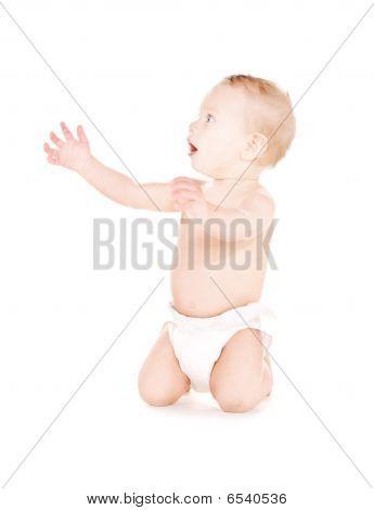 Sitting Baby Boy In Diaper