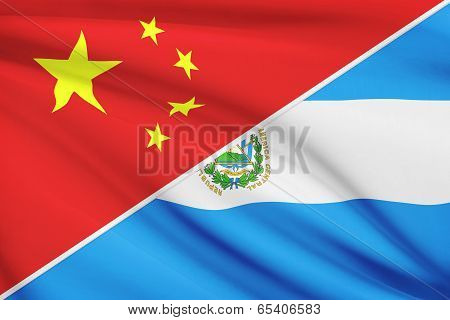 Series Of Ruffled Flags. China And Republic Of El Salvador.