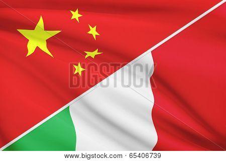 Series Of Ruffled Flags. China And Italian Republic.