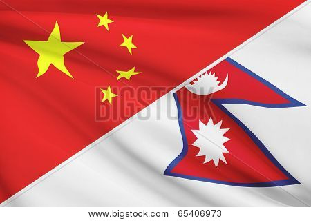 Series Of Ruffled Flags. China And Federal Democratic Republic Of Nepal.