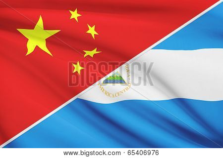 Series Of Ruffled Flags. China And Republic Of Nicaragua.