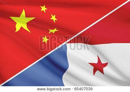 Series Of Ruffled Flags. China And Republic Of Panama.