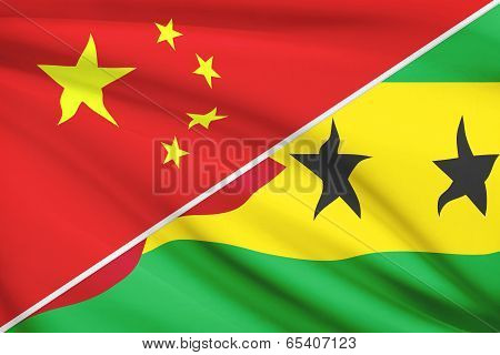 Series Of Ruffled Flags. China And Democratic Republic of São Tomé and Príncipe