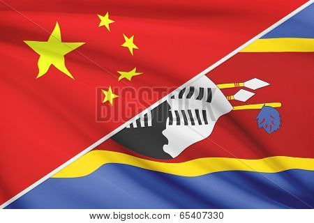 Series Of Ruffled Flags. China And Kingdom Of Swaziland.