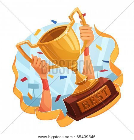 Winner cup. Sporting Achievement. Vector image