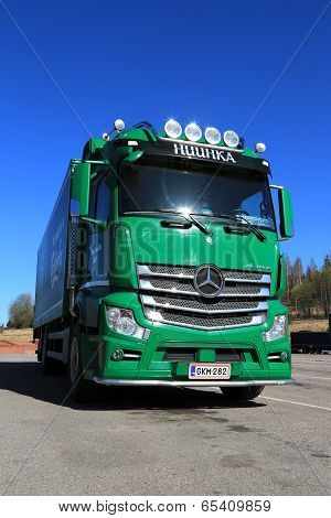 Green Mercedes-benz Actros 2545 Truck On A Yard