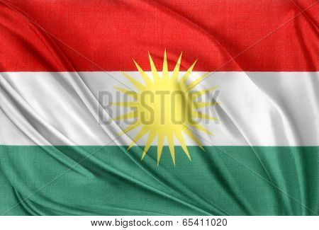 Closeup of silky Kurdistan flag