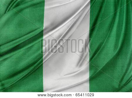 Closeup of silky Nigerian flag