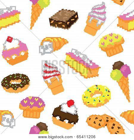 Seamless pixel cakes pattern