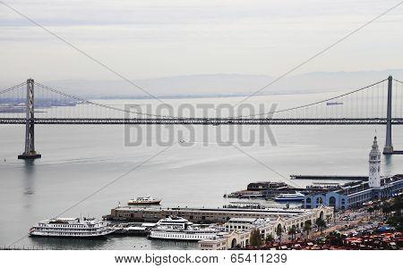 San Francisco Bay Bridge And Embarcadero