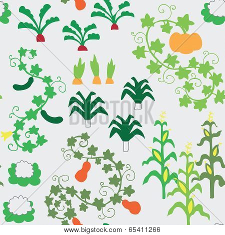 Seamless vegetable garden pattern