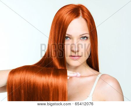 Woman with beauty long red hair