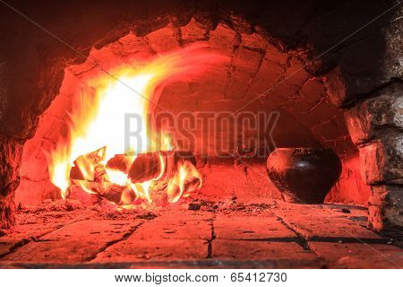 Cooking on live coals in oven