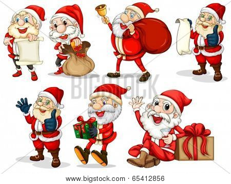 Illustration of the happy Santas on a white background