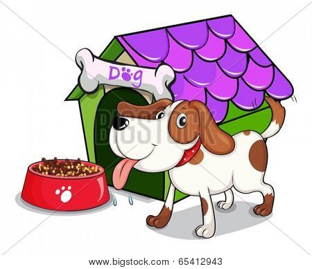Illustration of a dog beside the bowl with foods on a white background