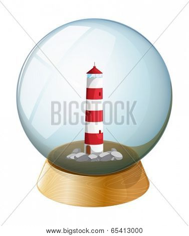 Illustration of a crystal ball with a tower inside on a white background