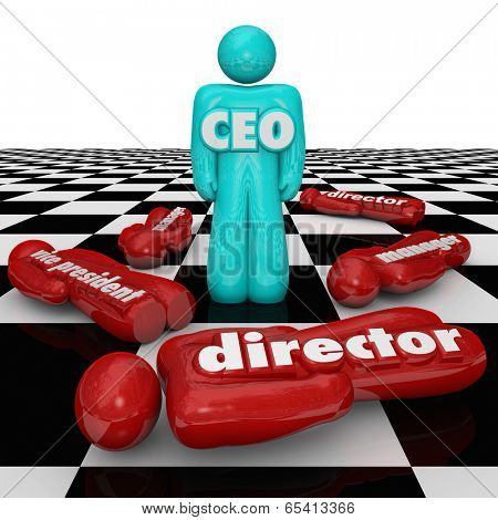 CEO word abbreviation person standing chess board power struggle