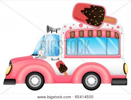 Illustration of a pink car selling icecream on a white background