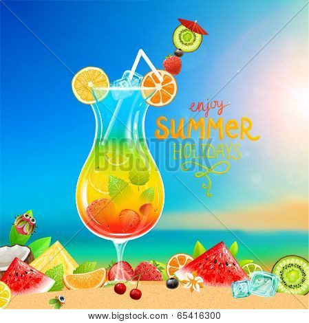 Summer holidays vector illustration set with cocktail, sun, sky, sea, fruits and berries.