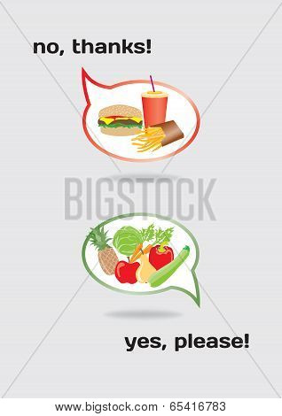 Food Concept Healthy And Unhealthy