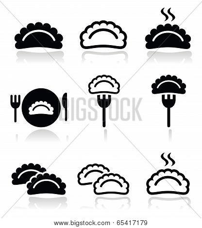 Dumplings, food vector icons set