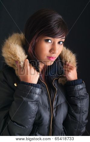 Pretty Young Woman In Fur Parka