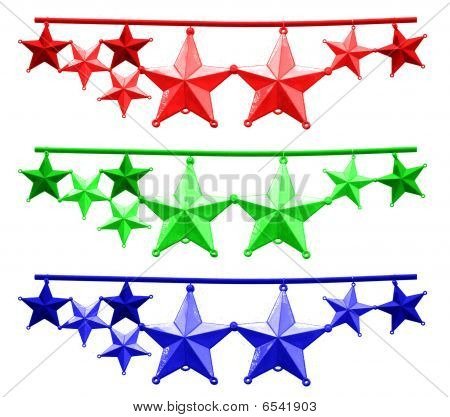 Bright Red Green Blue Christmas Stars