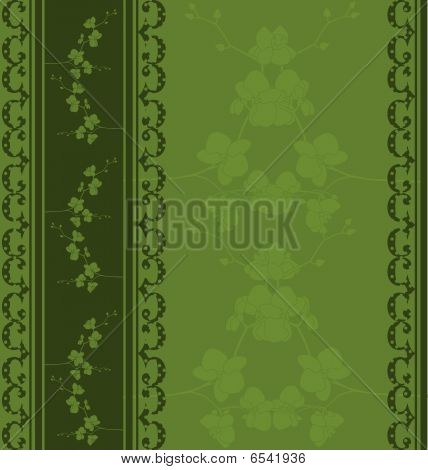 Green seamless floral template
