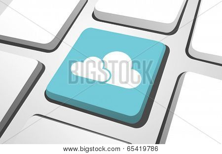 Close-up of sky blue cloud computing computer icon on a keyboard button.