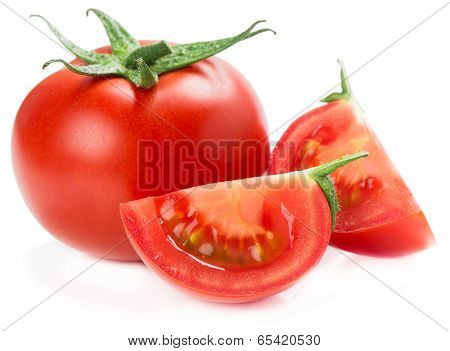 Slices And Whole Tomato
