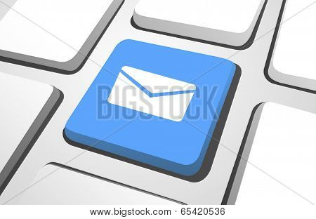 Close-up of blue email computer icon on a keyboard button.