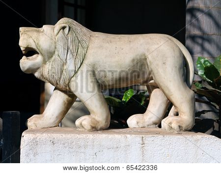 White Marble Lion On The Fence, Goa
