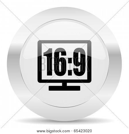 16 9 display silver glossy web icon