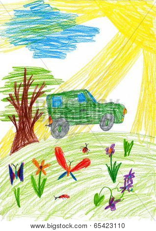 child drawing. car rides on a meadow