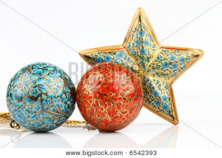 balls and single big star on white background