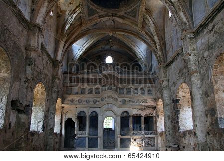 Ruins Of Abandoned Church In Kayakoy, Turkey
