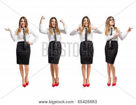 Young Woman Making Ok Sign Over White Background