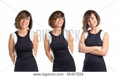 Woman In Black Clothes Over White Background