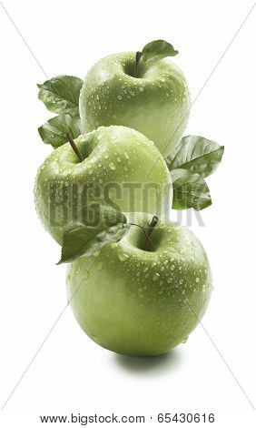 Three Green Granny Smith Apples Isolated On White Background
