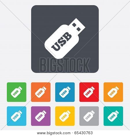 Usb Stick sign icon. Usb flash drive button.