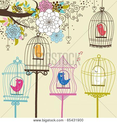 Vintage Flowers and Birdcage - Illustration