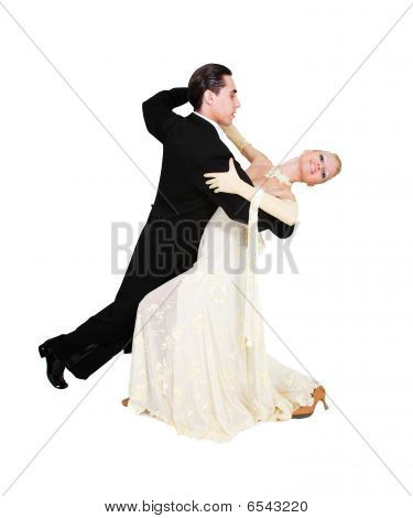 Young Couple Dancing Over White
