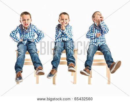 Blonde Boy Pleading, Furious, And Thinking Over White Background