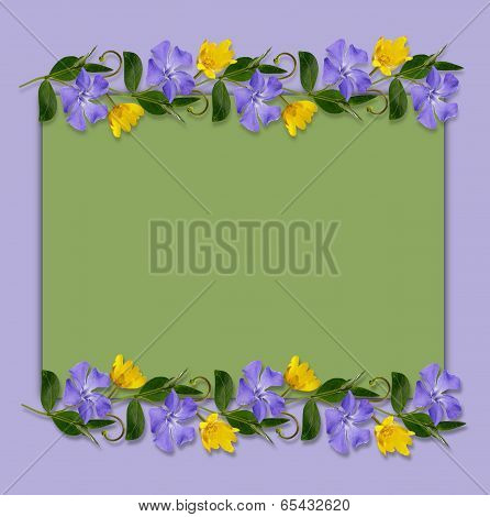 Green And Blue Background With Wild Flowers