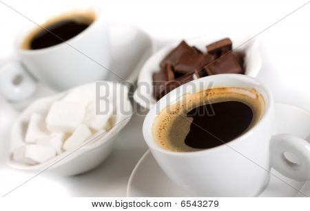 Espresso Coffee With Sugarcubes And Chocolate