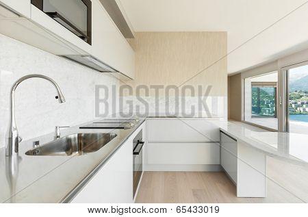 beautiful penthouse, view of modern kitchen
