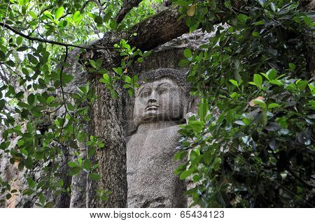 Carved Stone Buddha in Dowa Temple, Sri Lanka