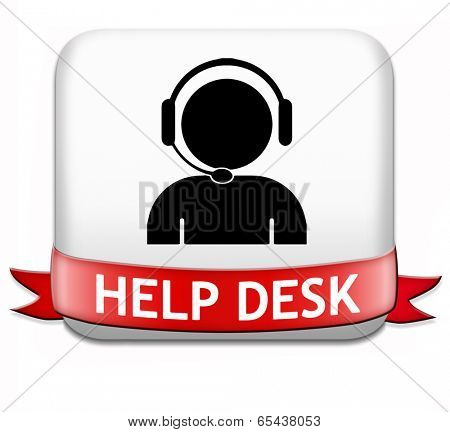 help desk button or online support call center customer service